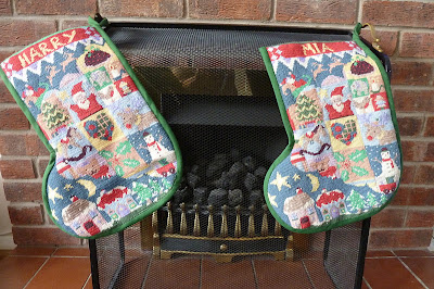 Tapestry Christmas stockings from Jolly Red kit