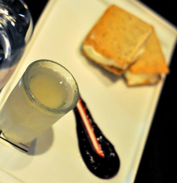 Meyer Lemon Gelato Sandwiches with Huckleberry Sauce and Housemade Meyer Limoncello Shot - Carpe Diem Wine Bar - Napa, CA | Taste As You Go
