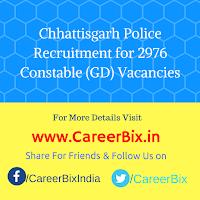 Chhattisgarh Police Recruitment for 2976 Constable (GD) Vacancies
