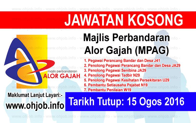 Jawatan Kerja Kosong Majlis Perbandaran Alor Gajah (MPAG) logo www.ohjob.info ogos 2016