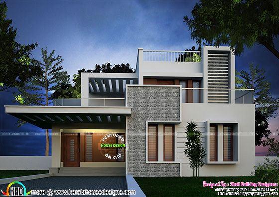 Stunning 4 bedroom flat roof contemporary home - Kerala ...