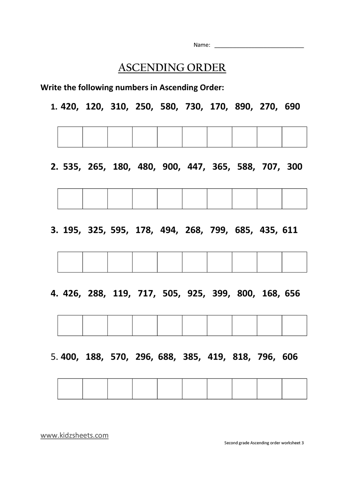 Kidz Worksheets Second Grade Ascending Order Worksheet3