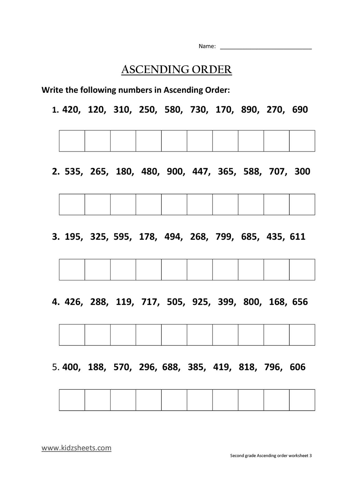 Kidz Worksheets Second Grade Ascending Order Worksheet3
