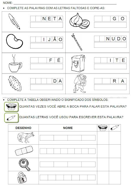 Atividades com palavras que têm as sílabas C, F, L