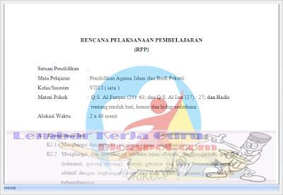 Contoh Rpp SMP/MTs Mapel PAI Kelas 8