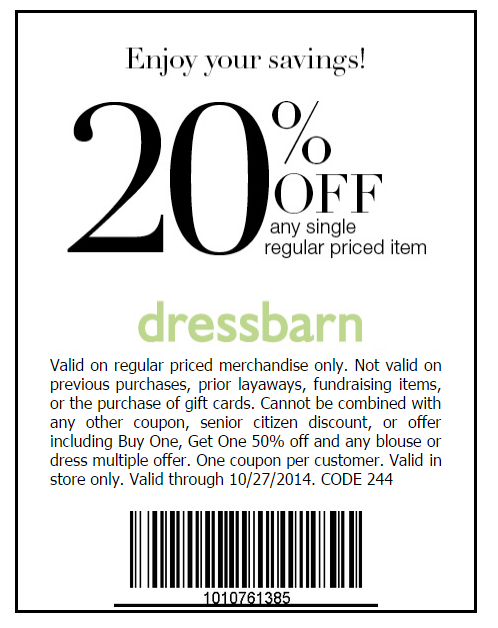 Dressbarn almost always has an online promo code you can use on your order, but if for some reason there isn't one sign up to the newsletter. By signing up you'll get a 20% off coupon to use. You can also apply to get the Dressbarn credit card. If you are approved you'll get 10% off your first order.