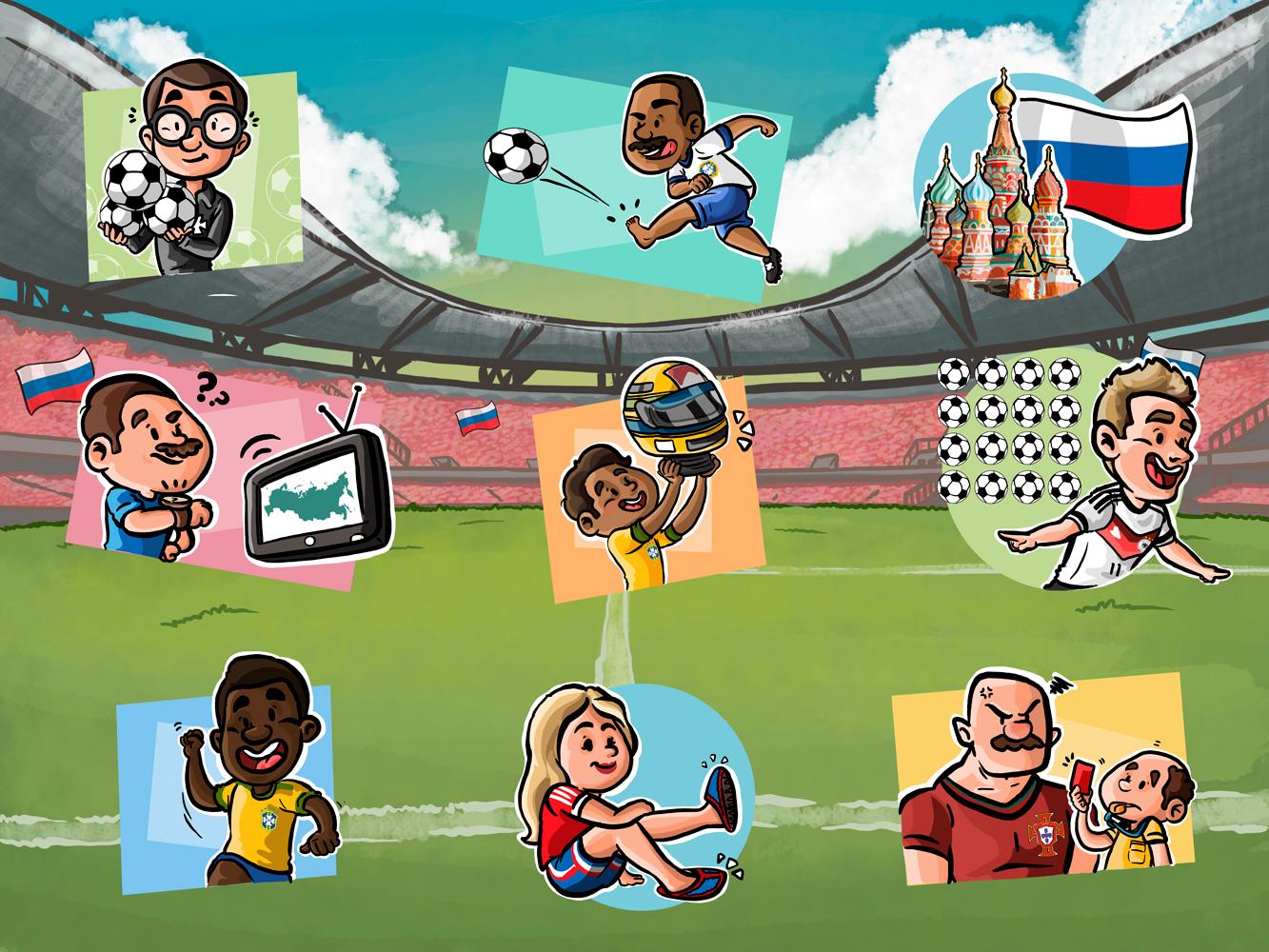 Conjuntos de Ilustrações para Materiais da Copa do Mundo