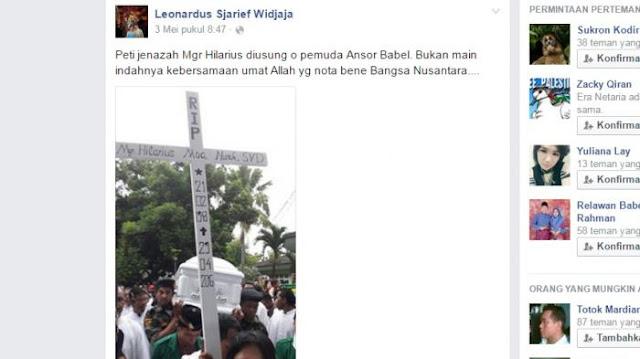 GP Ansor Usung Jenazah Uskup Pangkalpinang Banjir Pujian