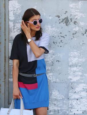 Novamoda style, confashion, streetstyle, summer style, goshico, Novamoda streetstyle, wełniana sukienka, torebki goshico, dzianinowa  sukienka, street look, stylistka poznan