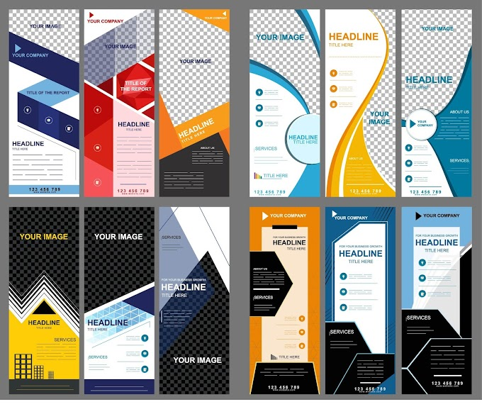 Corporate banners collection modern vertical technology decor Free vector