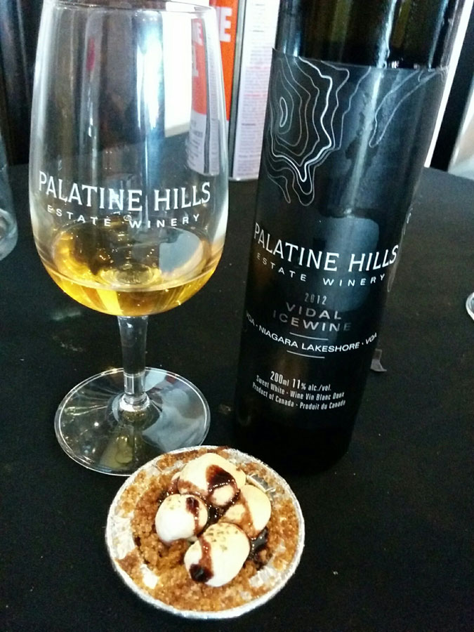 Palatine Hills Vidal Icewine 2012 (90 pts) with S'mores Pie