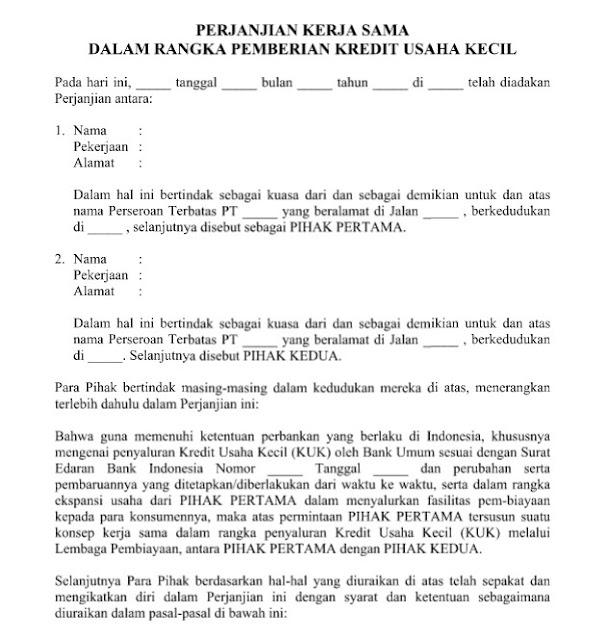 Contoh Surat Perjanjian Pemberian Kredit Usaha Kecil Format Word