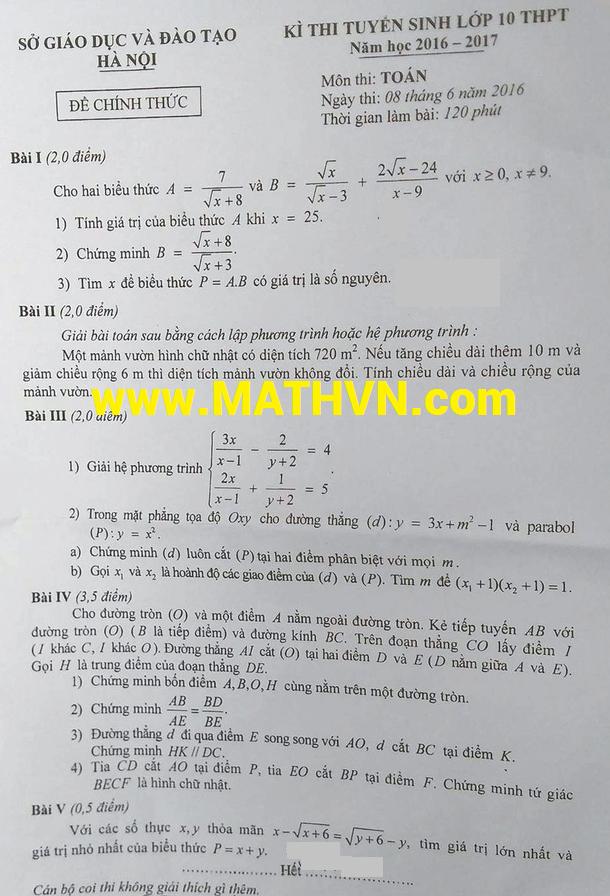 đề thi môn toán vào lớp 10 hà nội năm học 2016-2017