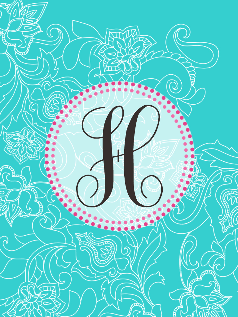 the pink elephan...H Letter Wallpaper