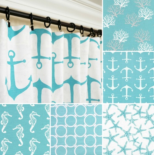 Coastal and Nautical Blue Window Curtain Panels that can be Customized