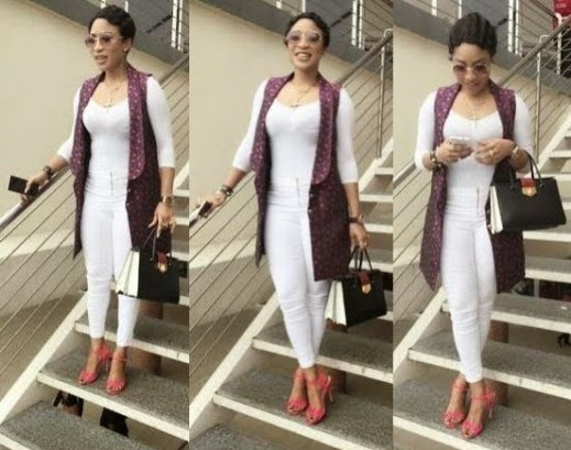 Tonto Dikeh Steps Out Looking Lovely In White And Pink