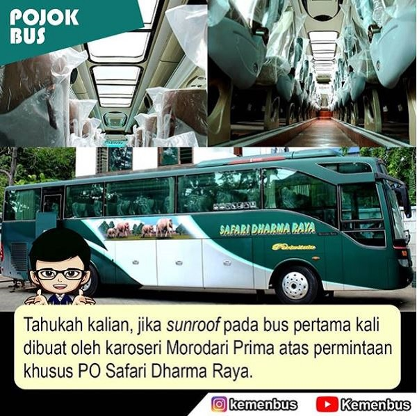 Sunroof Bus Pertama pesanan PO Safari Dharma Raya