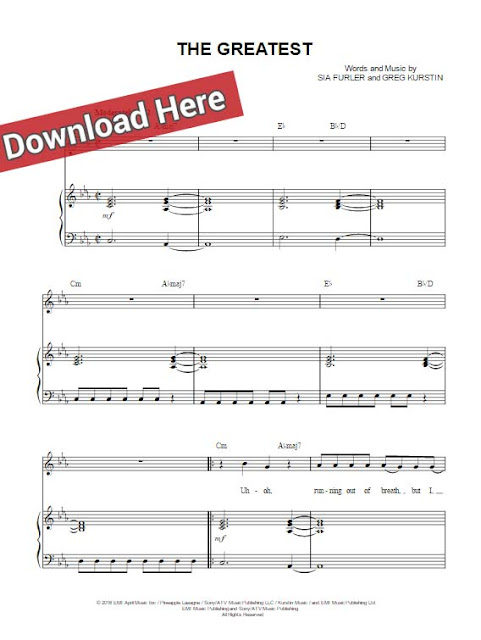 sia, the greatest, sheet music, piano notes, chords, download, keyboard, guitar, tabs, voice, vocals
