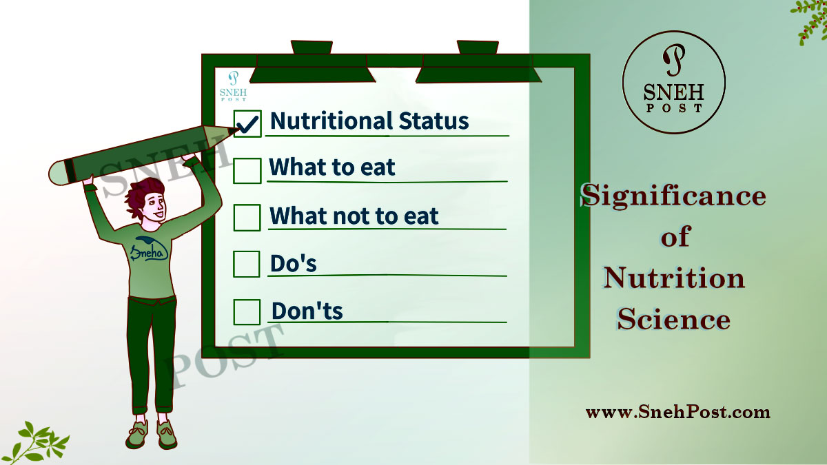 Significance of nutrition and nutrition science: Illustration of a boy lifting up a huge pencil to tick-mark his to-do-list on a huge board with options such as Nutritional status, What to eat, What not to eat, Do's, Don'ts, etc