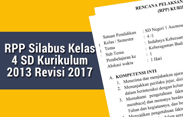 RPP Silabus Kelas 4 SD Kurikulum 2013 Revisi 2017