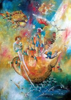 https://www.latelierdannapia.com/ La teiera tela 50 x 70, oche delfini pesci angeli surrealismo onirico, La théière, oies dauphins poissons surrealisme onirique Didier Delamonica Chagall