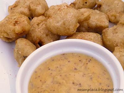 Gator Bites w/ Cheesy Creole Mustard Beer Sauce