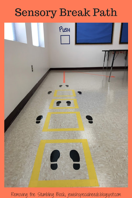colorful lines and footprints on the floor and wall as a sensory path for students; Removing the Stumbling Block