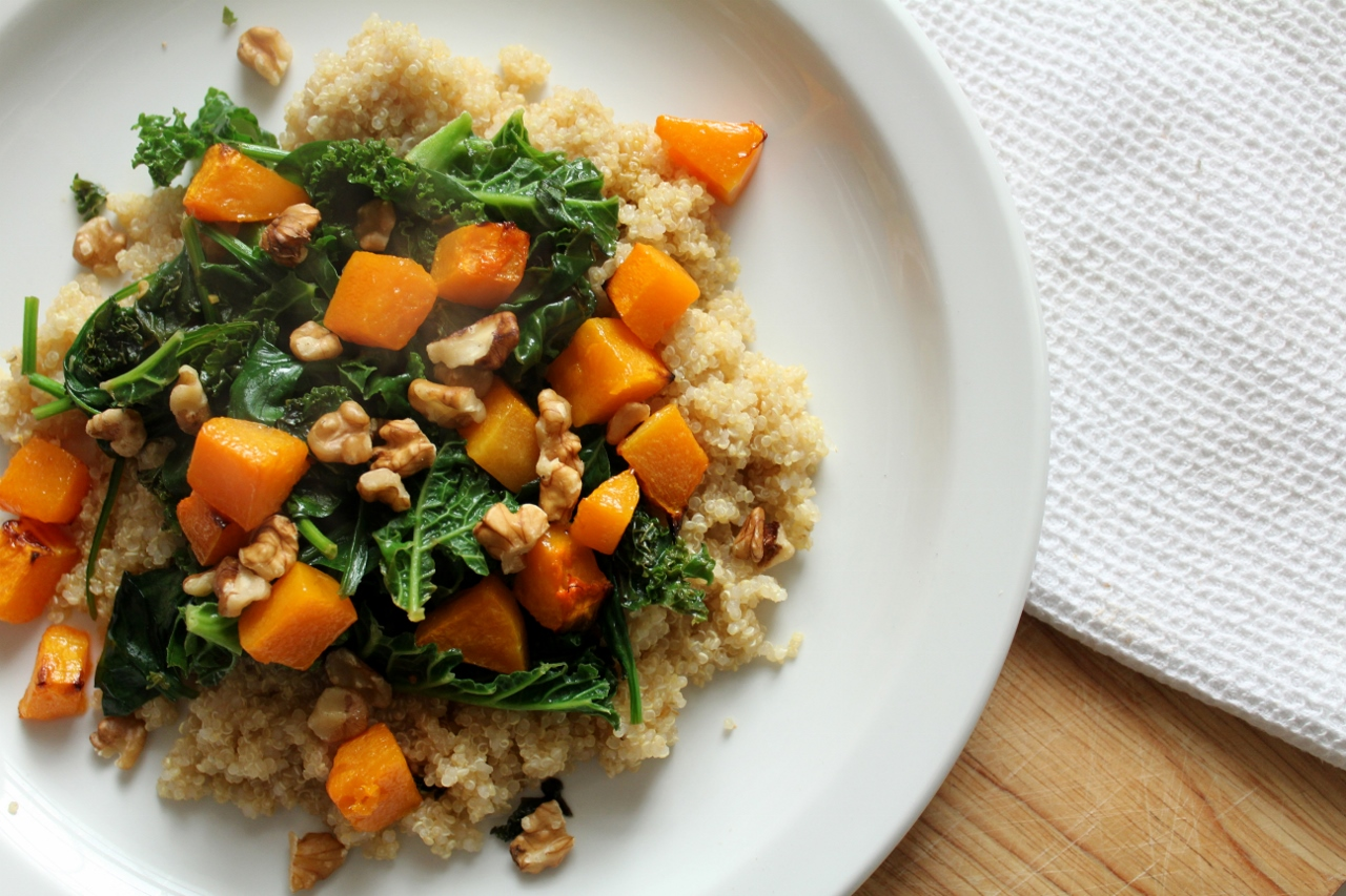 Quinoa with orange-chilli kale and butternut squash
