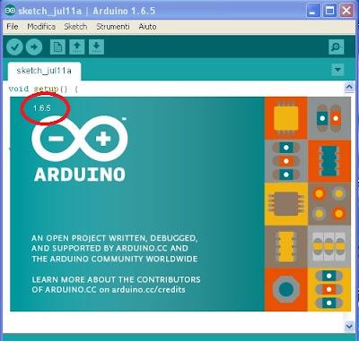 IDE Arduino Versione 1.6.5 - Fonte http://arduino.cc