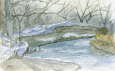art pen watercolor plein air jordan river parkway