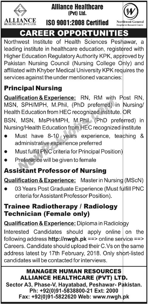 Principal Nursing    Assistant Professor of Nursing    Trainee Radiotherapy (Female)