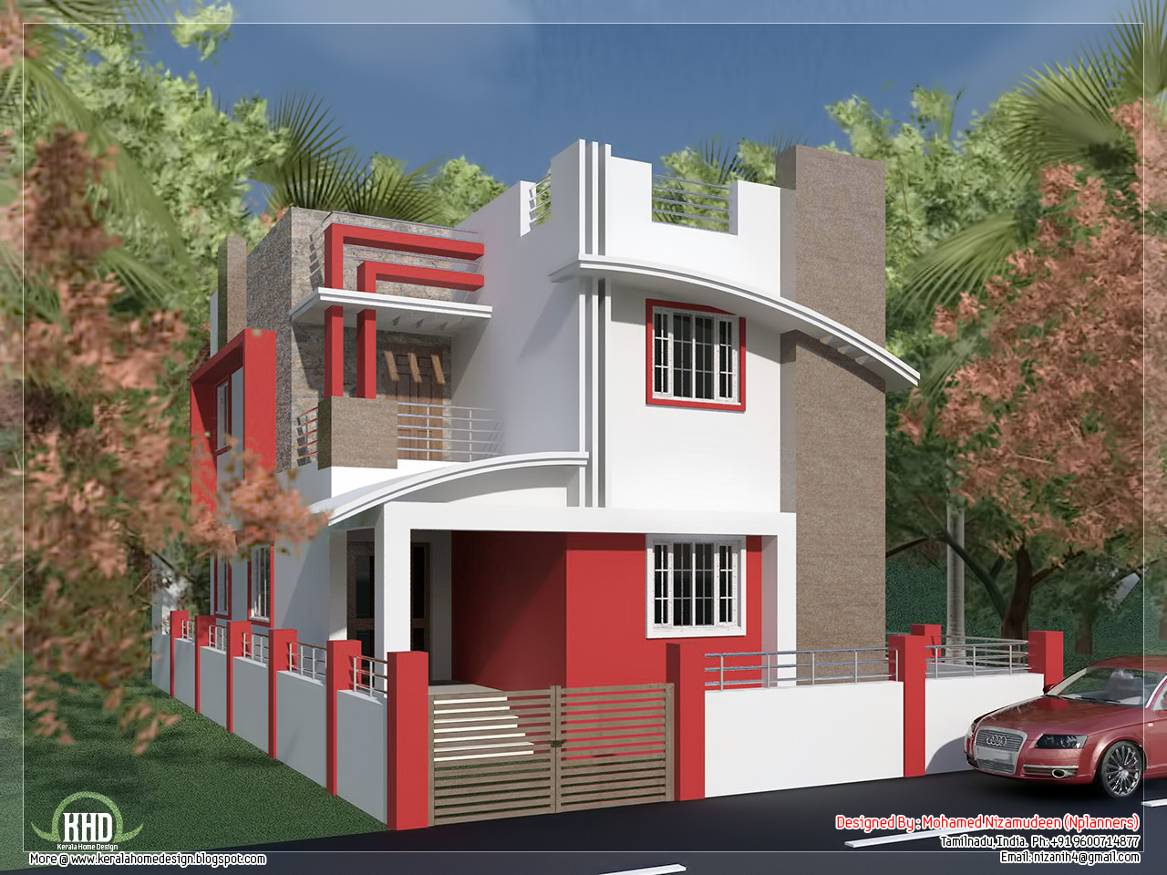 South indian villa in 1375 a taste in heaven for House exterior design pictures in indian