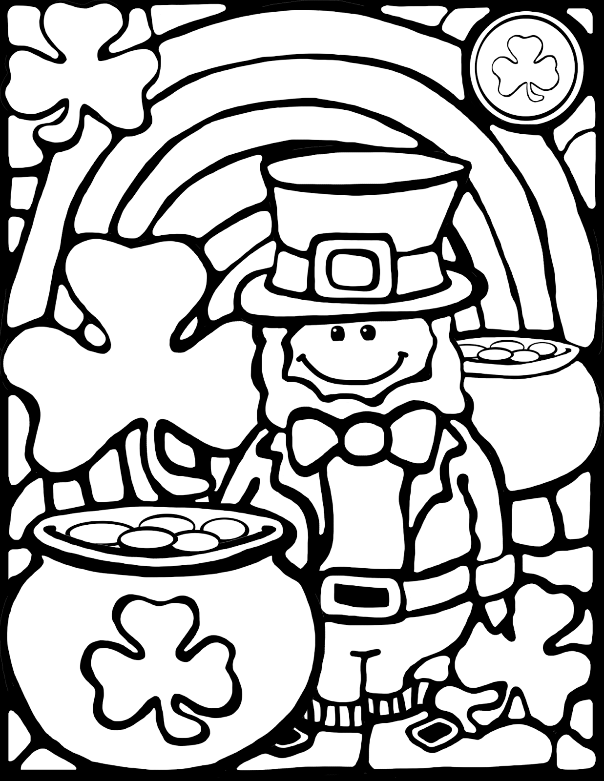 Free download - stained-glass style leprechaun for coloring projects
