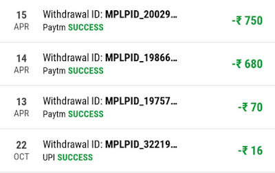MPL paytm payment proof