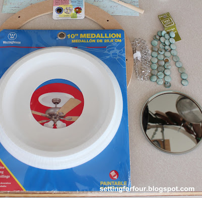 Make a Sunburst Mirror from a Ceiling Medallion from Setting for Four
