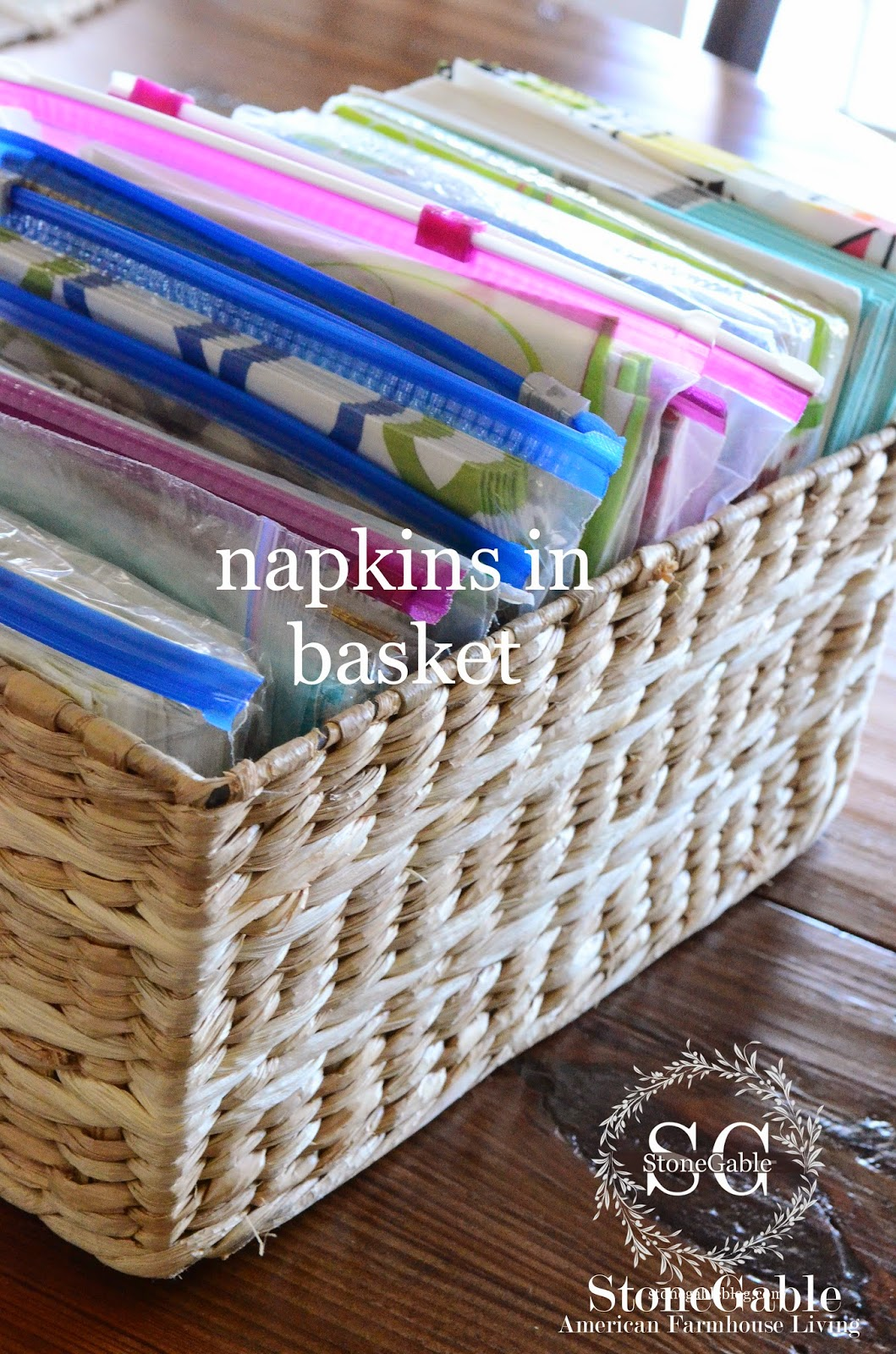 Before I Put The Basket Of Napkins In The Drawer, I Slipped The Pad Of  Disposable Place Mats Under It.