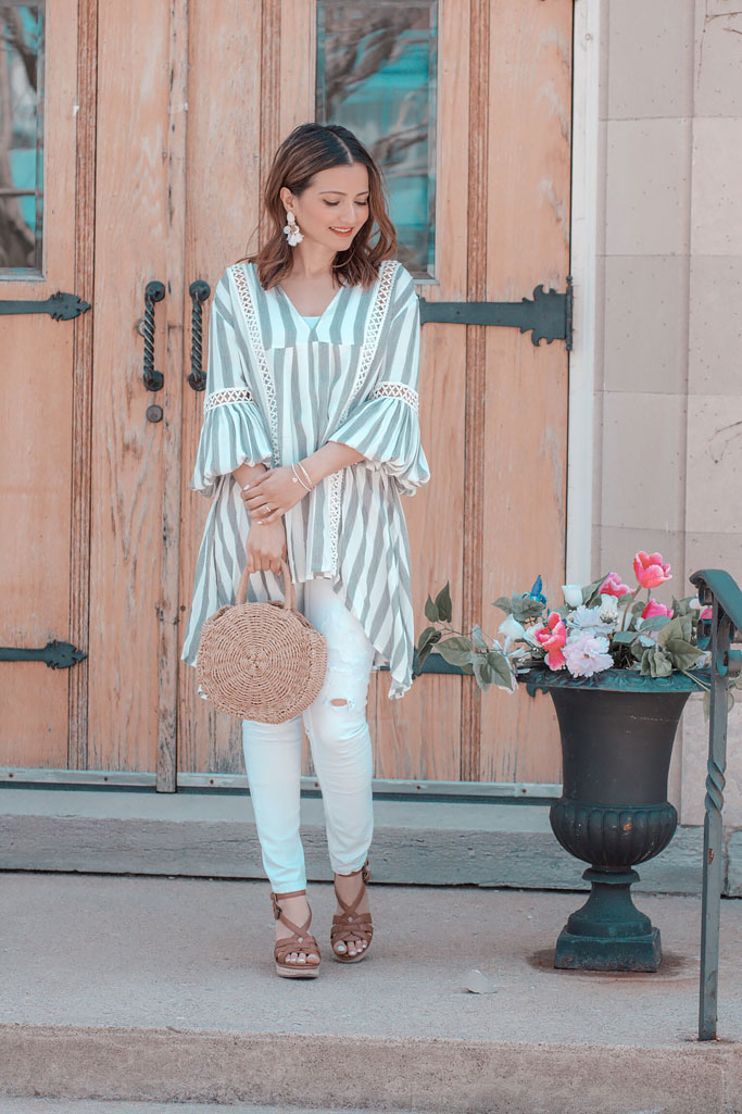Grey Chicwish Striped Top White Jeans Wedge Espadrilles Circle Straw Bag Summer Blogger Outfit