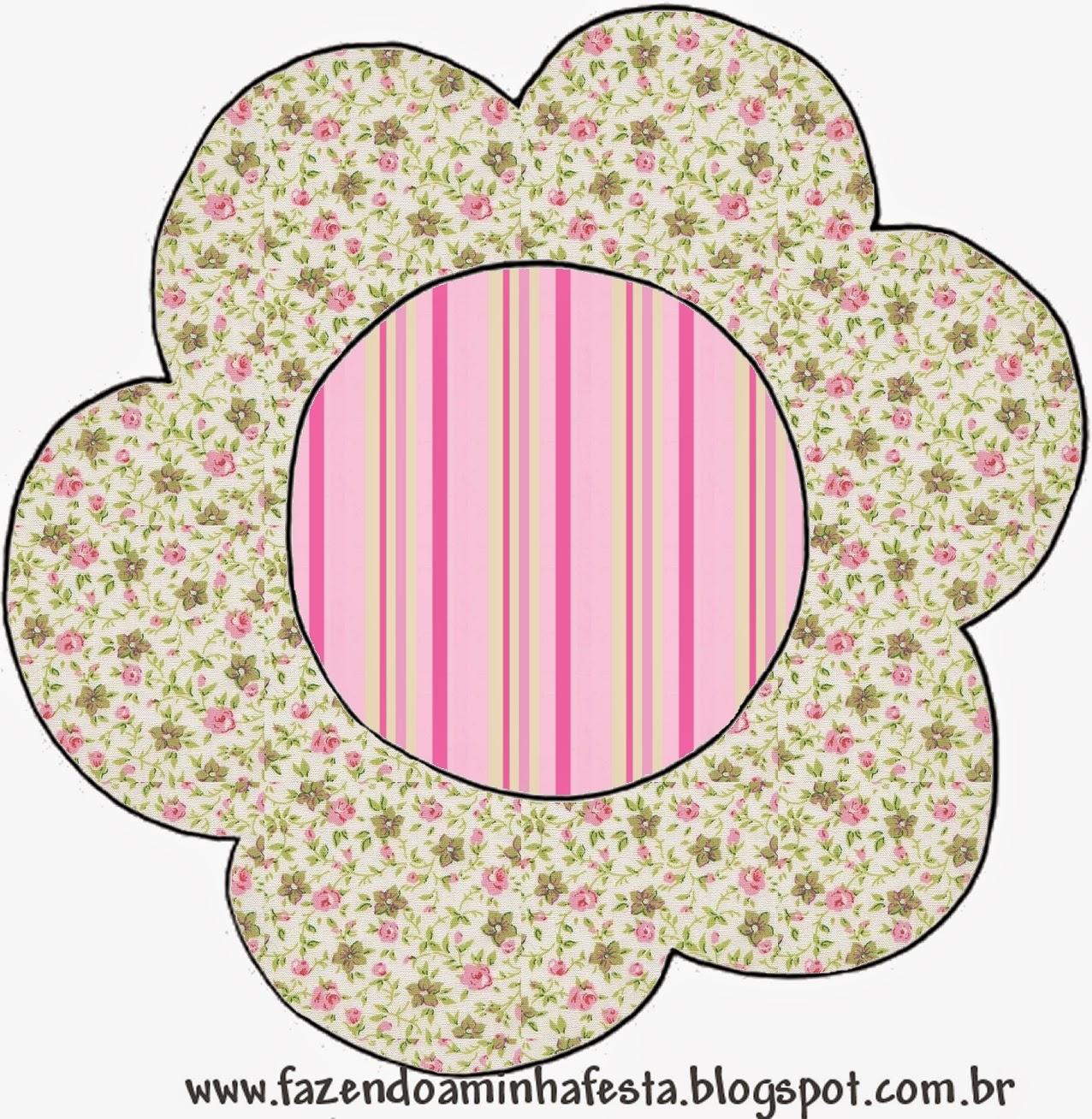 Tarjeta con forma de Flor de Shabby Chic Rosa y Amarillo.