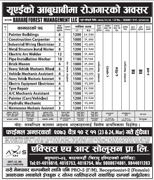 Jobs in UAE for Nepali, Salary Rs 43,500