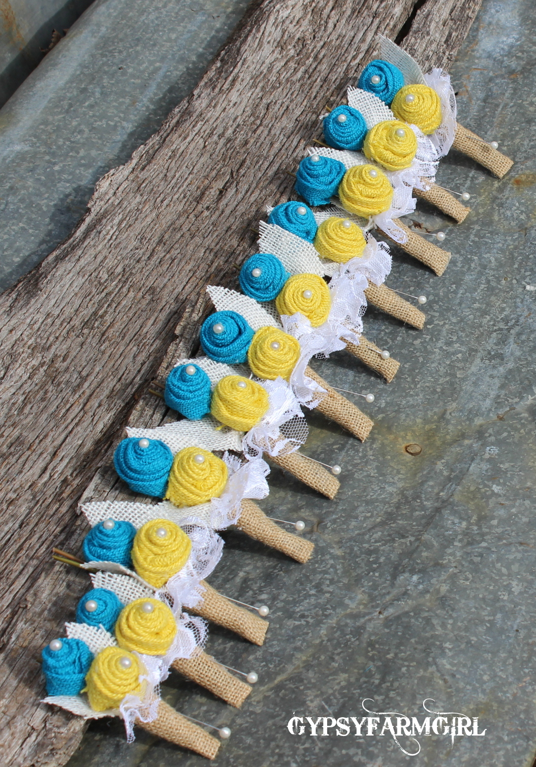 turquoise and yellow burlap boutonnieres