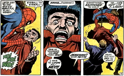 Amazing Spider-Man #70, john romita, jim mooney, spider-man grips j jonah jameson and threatens him but it all goes wrong when the publisher of the bugle suffers a potentially fatal heart attack