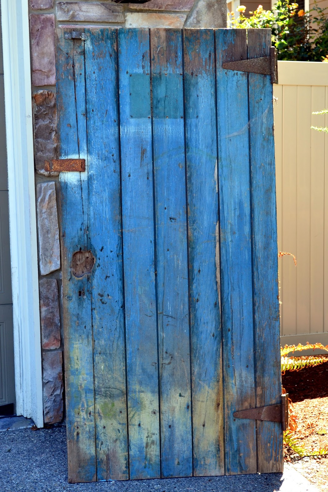 This Blue Barn Door Was Leaning Up On Some Trees. I Walked Past It A Few  Times Because I Was Just A Little Bit Overwhelmed With All The Other Rusty  Junk ...