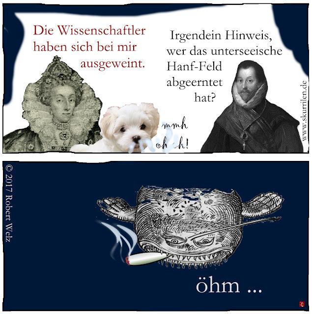 humoristisches Collage Fantasy Webcomic: Wer hat das unterseeische Hanf- / Cannabis-Versuchsfeld der Max-Planck-Institute illegal abgeerntet? Das fragen sich Comic-Königin & Cartoon-Pirat