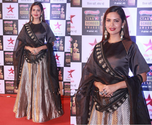 Esha Gupta Gorgeous Crop Top and Palazzo Set with Dupatta