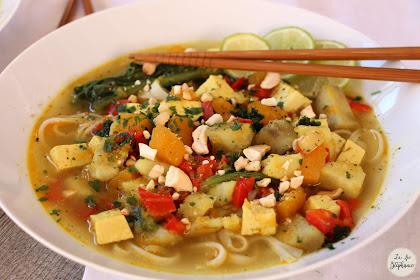 Soupe Thaï complète, recette vegan