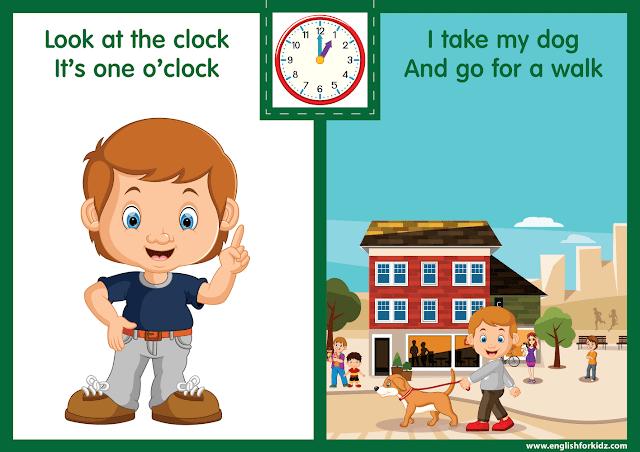 Telling the time worksheet - one o'clock on the clock - printable ESL resources