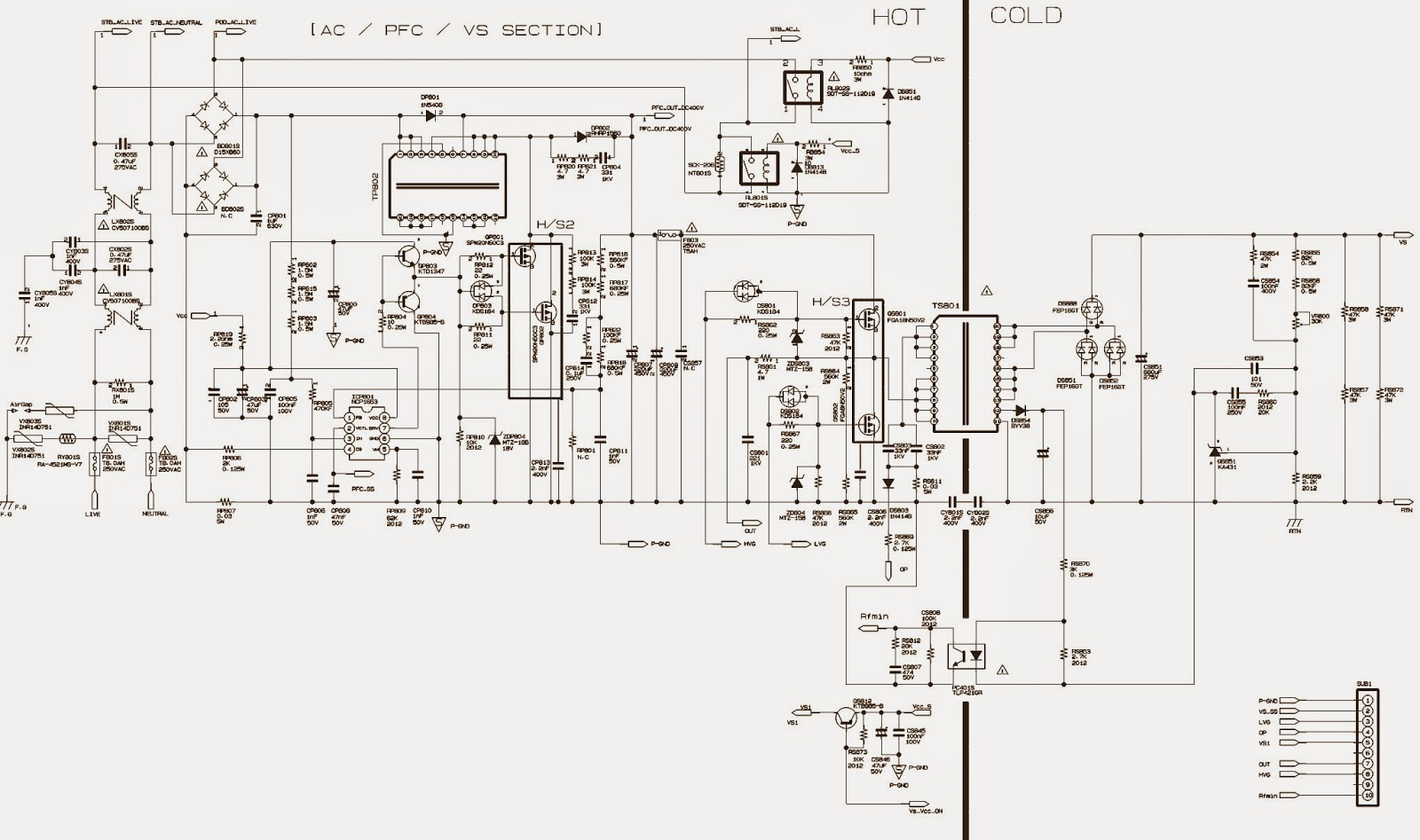 Tv Power Schematic Auto Electrical Wiring Diagram Crt Electronic Repair No High Voltage Toshiba 20as24 Samsung Bn94 03052a