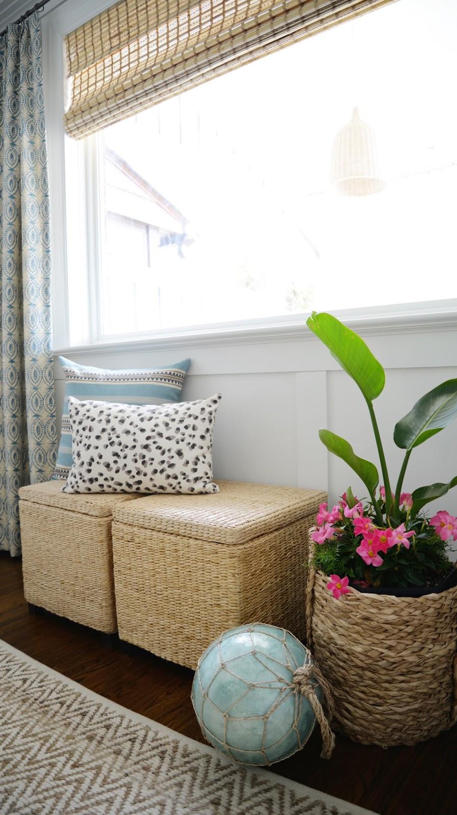 Rambling Renovators   tropical dining room with blue, bamboo, rattan