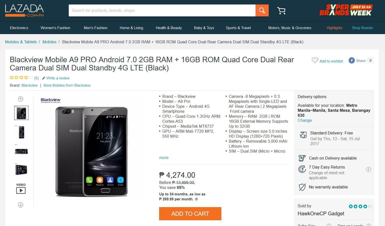 Blackview A9 Pro Listing in Lazada