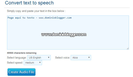 Pasar textos en audios en From Text To Speech
